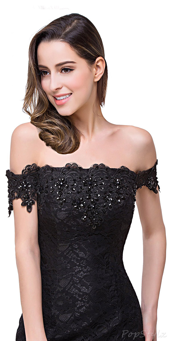 Babyonline Lace & Satin Off Shoulder Evening Gown