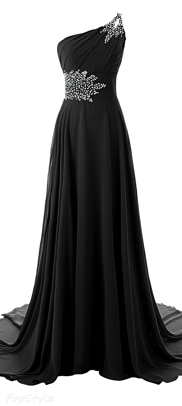 Diyouth One Shoulder Beaded Evening Gown with Train