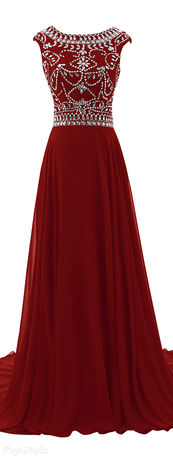 Diyouth Cap Sleeves Beaded Evening Gown