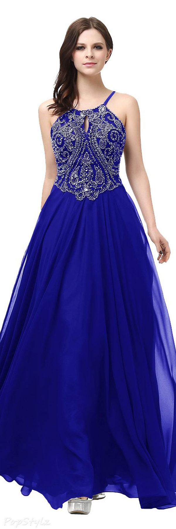 Diyouth Elegant Beaded Halter Evening Gown