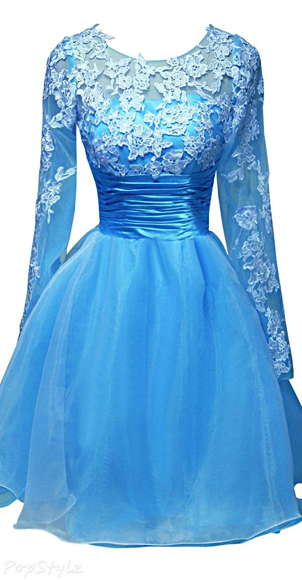 ORIENT BRIDE Appliqued Short Party Dress