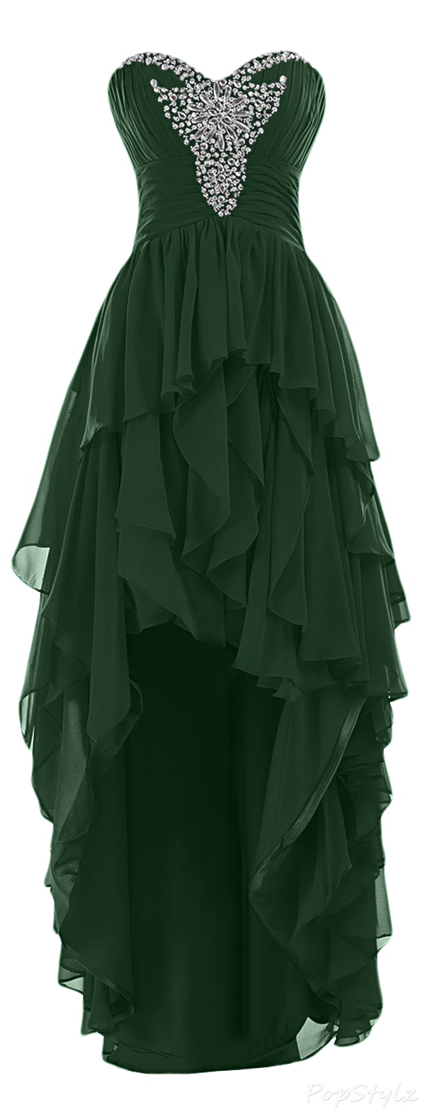 Sunvary Ruffled Hi-Low Evening Gown