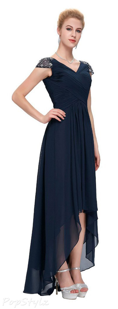 Sunvary Cap Sleeves High Low Formal Dress