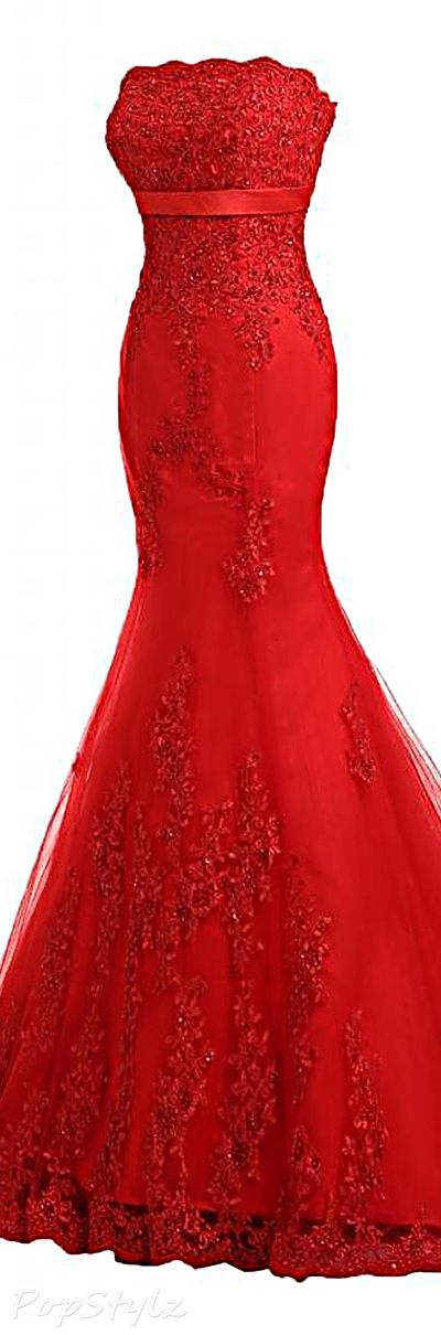 Sunvary Strapless Lace Long Evening Gown
