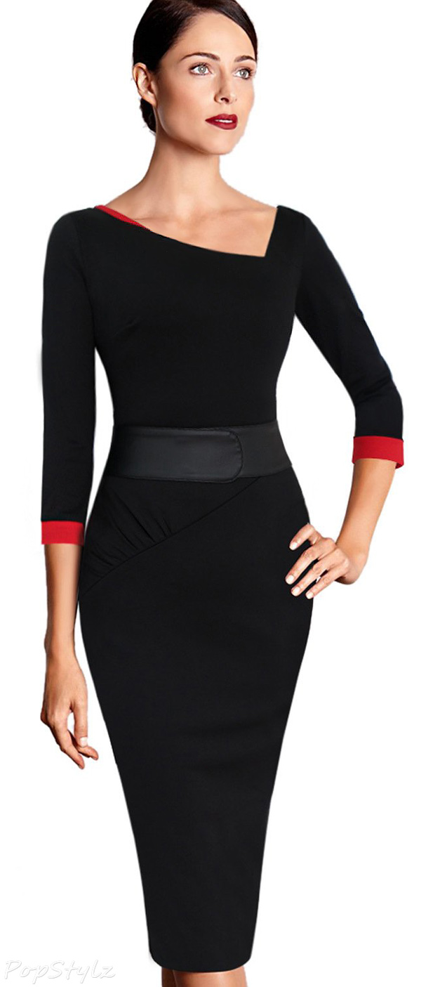 Vfemage Asymmetric Neck Ruched Tunic Dress