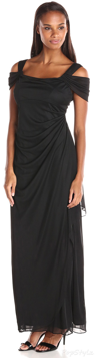 Alex Evenings Long Mesh Cold Shoulder Dress