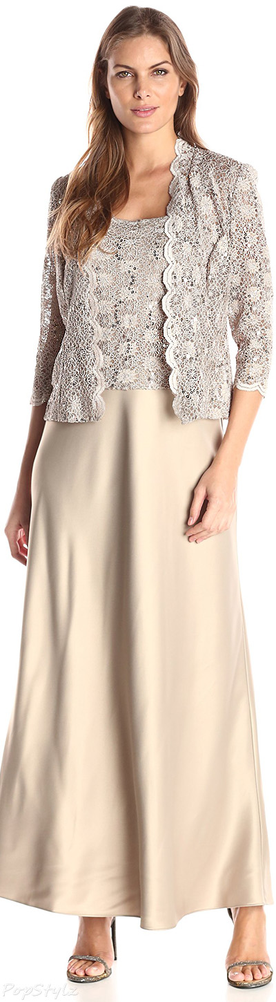 Alex Evenings Two-Piece Lace Charmeuse Jacket Dress