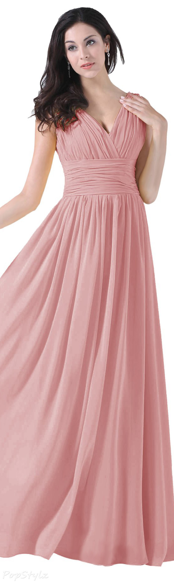 Diyouth V-Neck Long Flowing Evening Gown