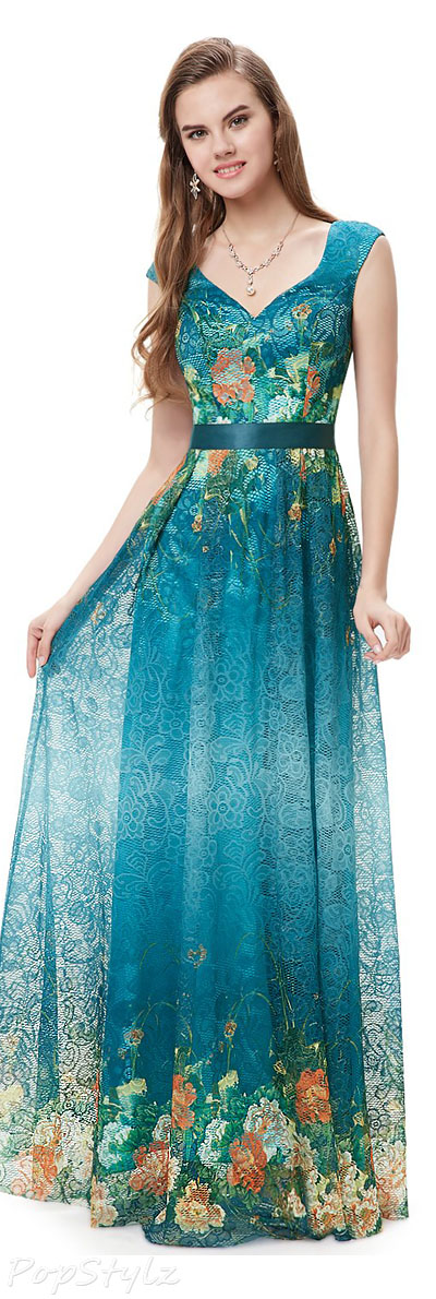 Ever Pretty Long Lace Floral Printed Evening Dress