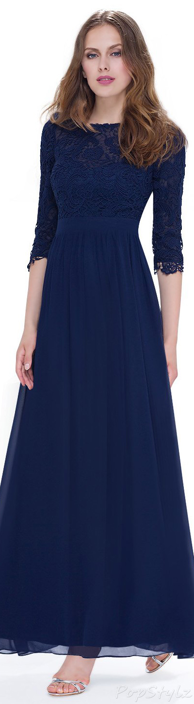 Ever Pretty Lace Long Sleeve Long Evening Dress
