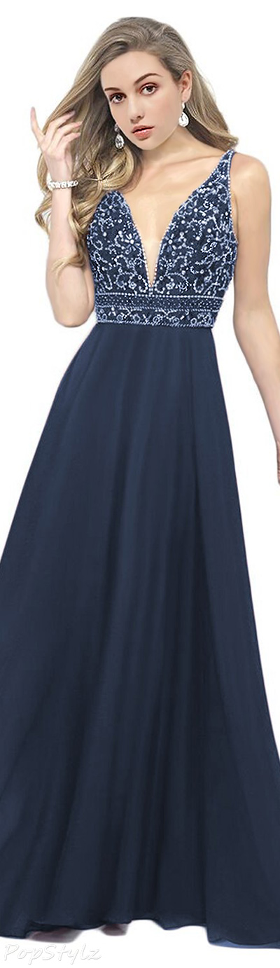 OYISHA Plunging V-Neck Beaded Evening Gown