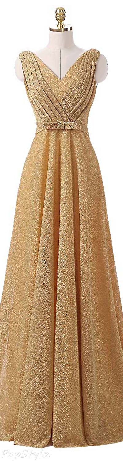 OYISHA Classic V-Neck Pleated Long Formal Gown