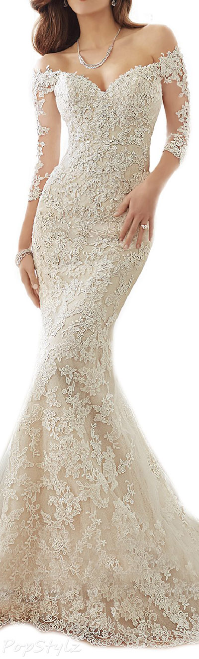 OYISHA Fishtail Lace Bridal Gown with Long Train