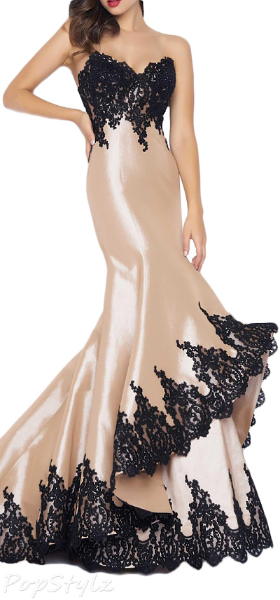 OYISHA Appliqued Satin Sheer Neck Formal Gown