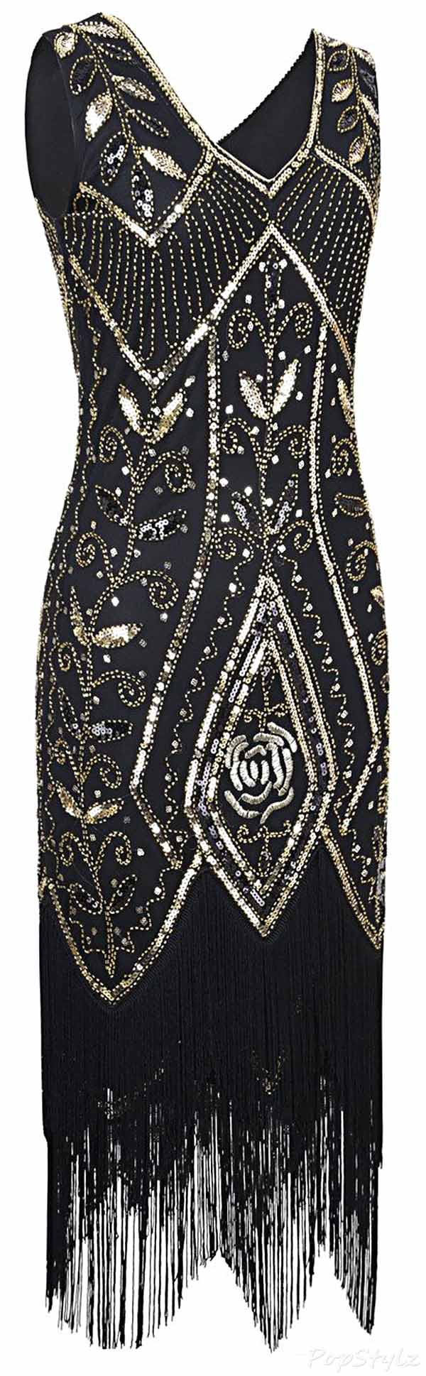 PrettyGuide 1920's Sequin Fringed Flapper Dress