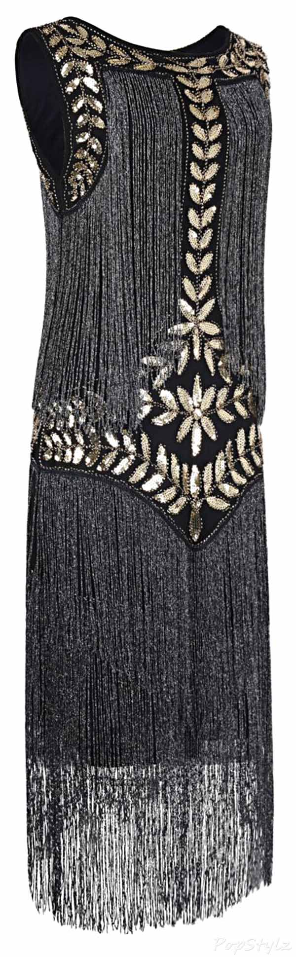 PrettyGuide 1920s Vintage Sequin Full Fringed Flapper Dress