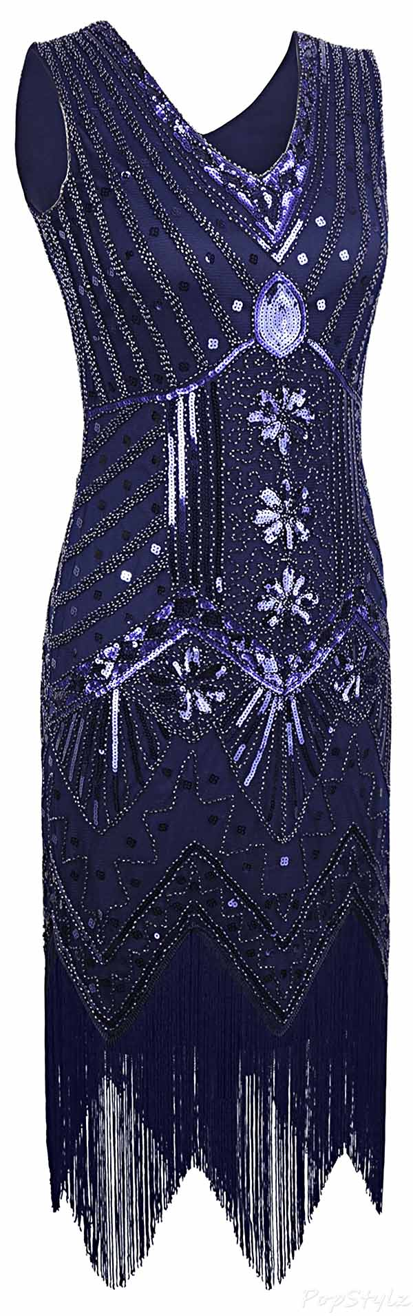 PrettyGuide 1920's Beaded Sequin Gatsby Flapper Dress