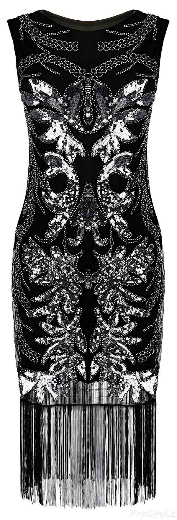 PrettyGuide 1920's Sequins & Beads Gatsby Flapper Dress