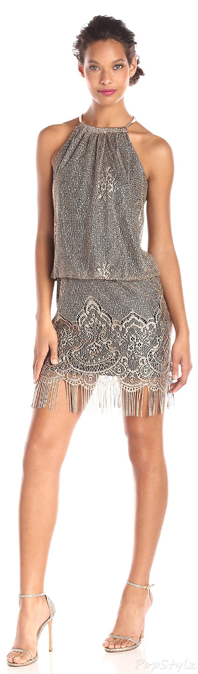 S.L. Fashions Blouson-Halter Crochet Dress
