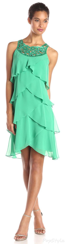 S.L. Fashions Jewel-Neck Multi-Tiered Cocktail Dress