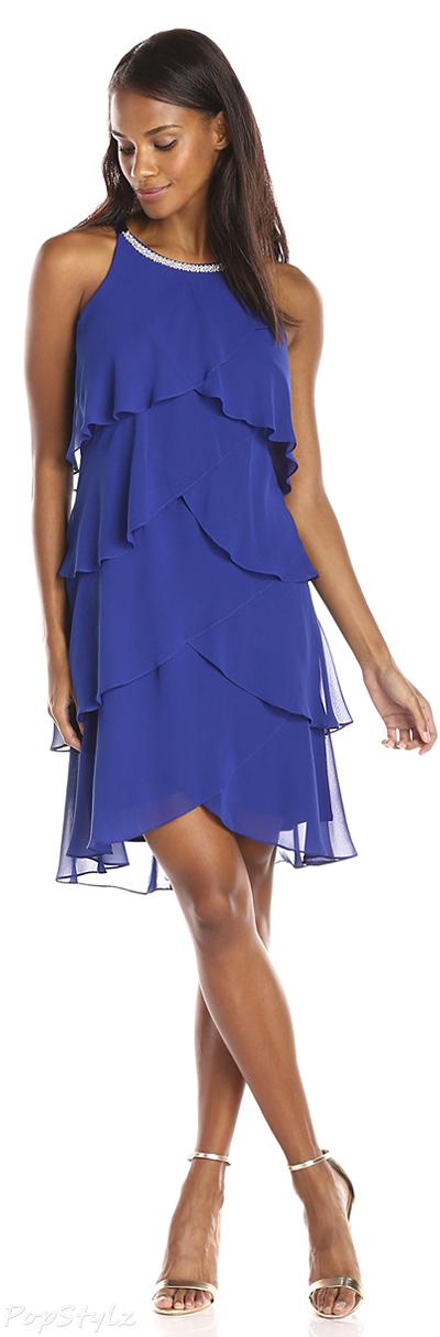 S.L. Fashions Rhinestone-Trim Tiered Dress