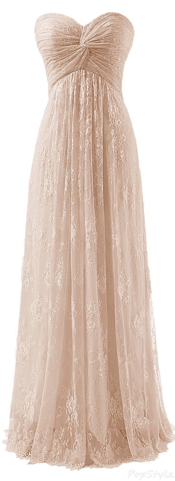 Diyouth Strapless Lace Flowers Evening Gown