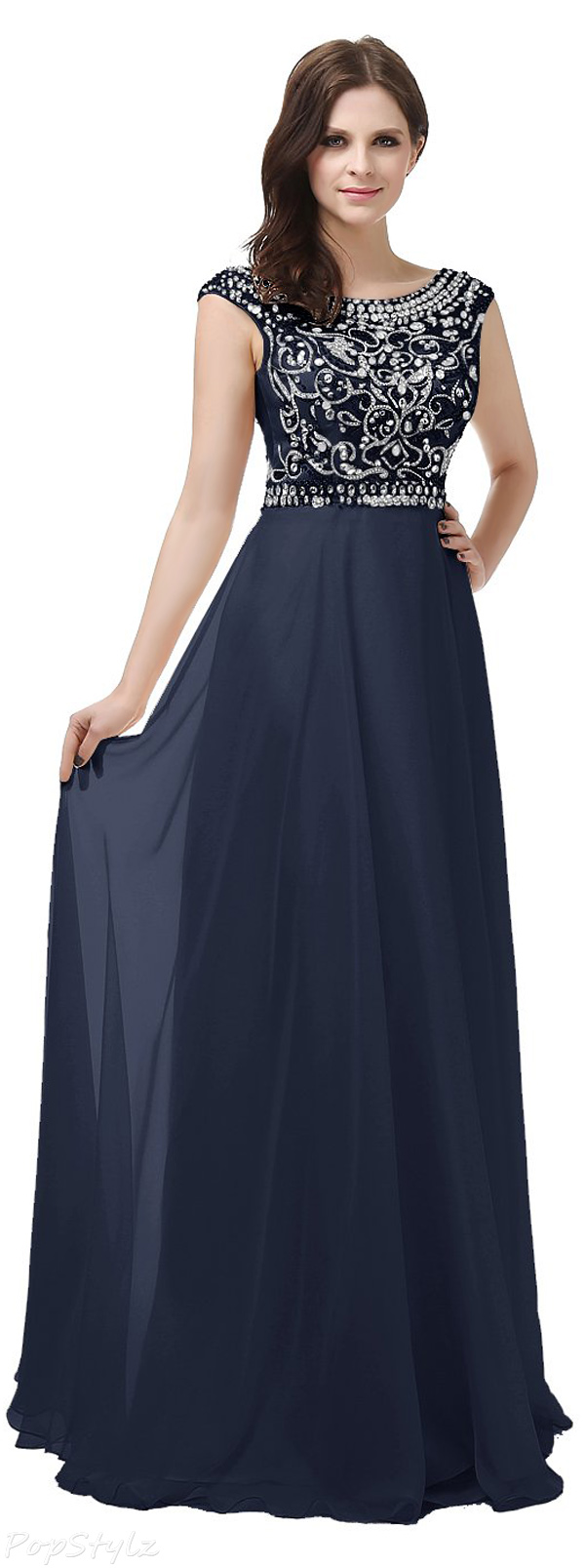 Diyouth Scoop Neck Beaded Evening Gown
