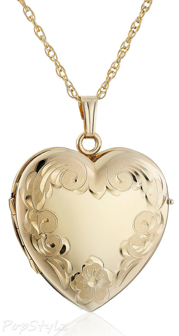 Engraved Four-Picture Heart Locket Necklace