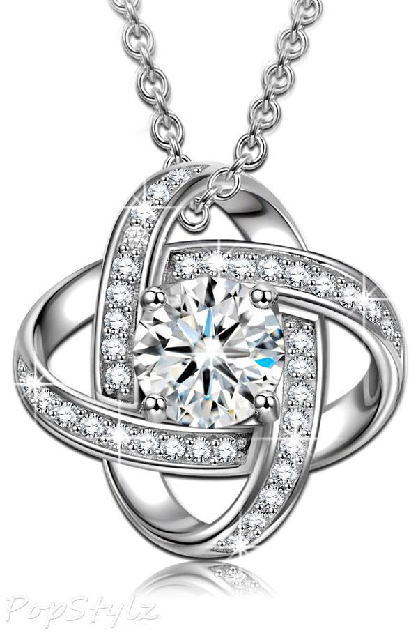 """Silk of Love"" Cubic Zerconia Pendant Necklace"