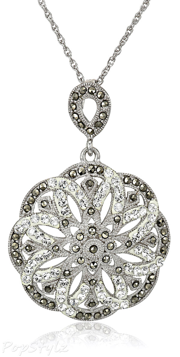 Marcasite & Clear Crystal Flower Pendant Necklace
