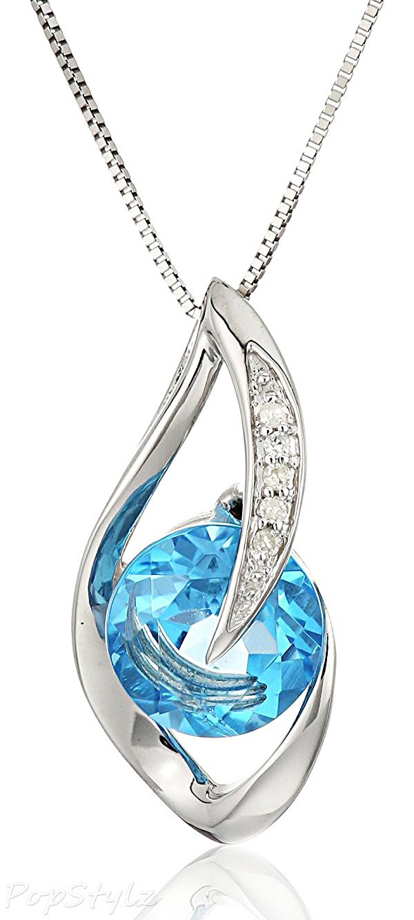 Gemstone & Diamond Accent Flame Pendant Necklace