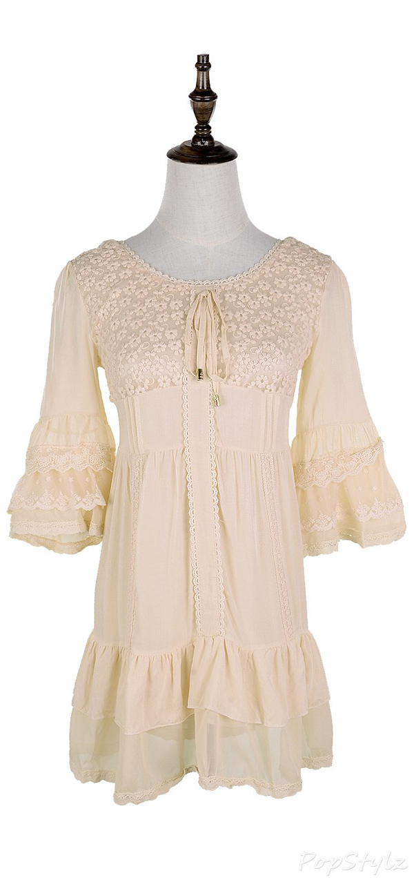 Anna-Kaci Short Cotton Lace Half Sleeve Peasant Dress