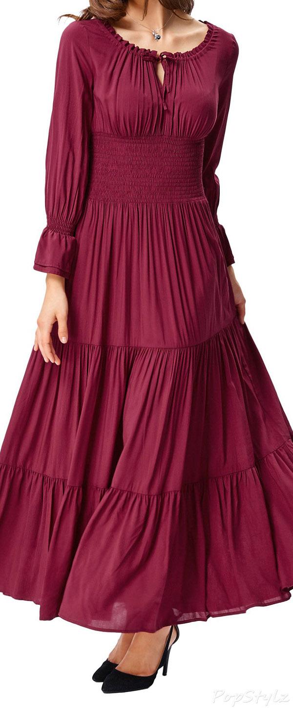 Belle Poque Renaissance Pleated Maxi Dress