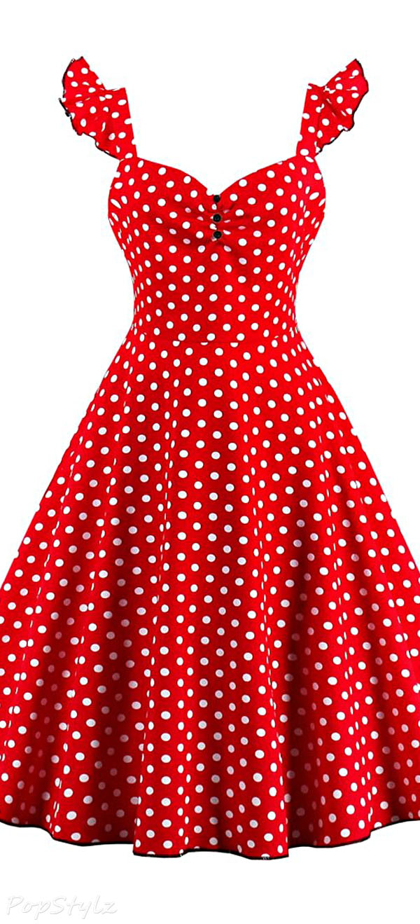 CharMma Vintage 50s Polka Dot Swing Dress