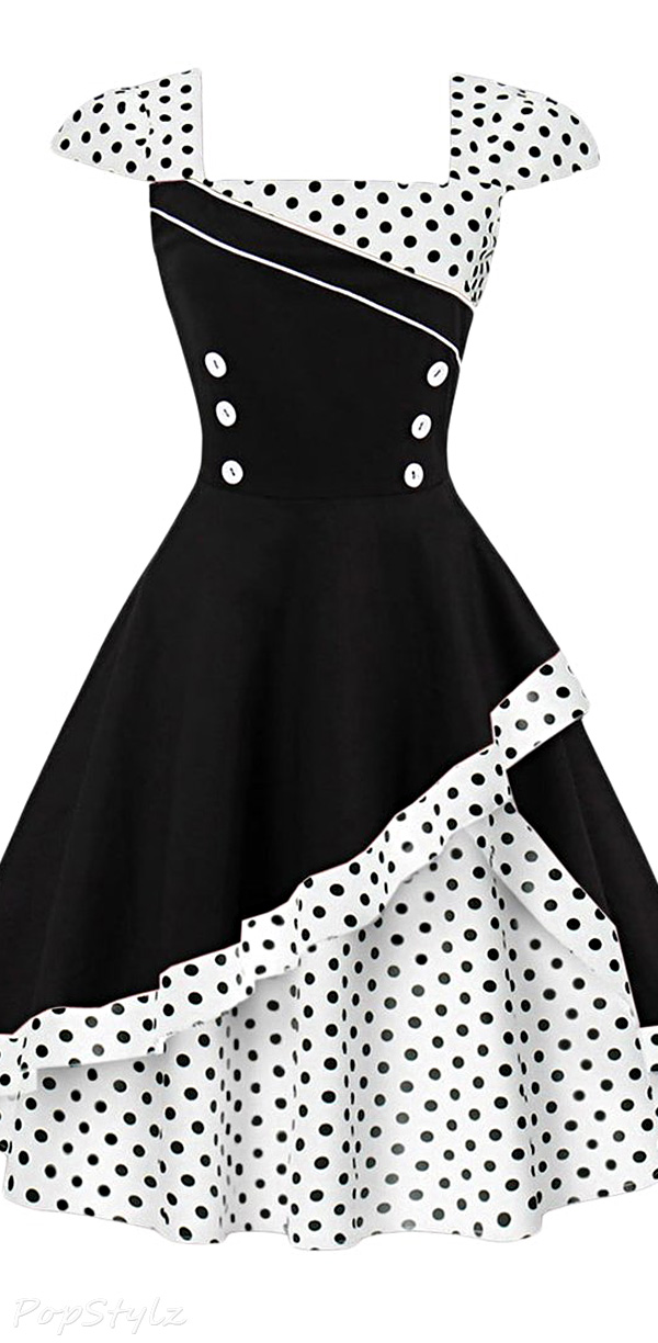 CharMma Cap Sleeve Vintage Swing Dress