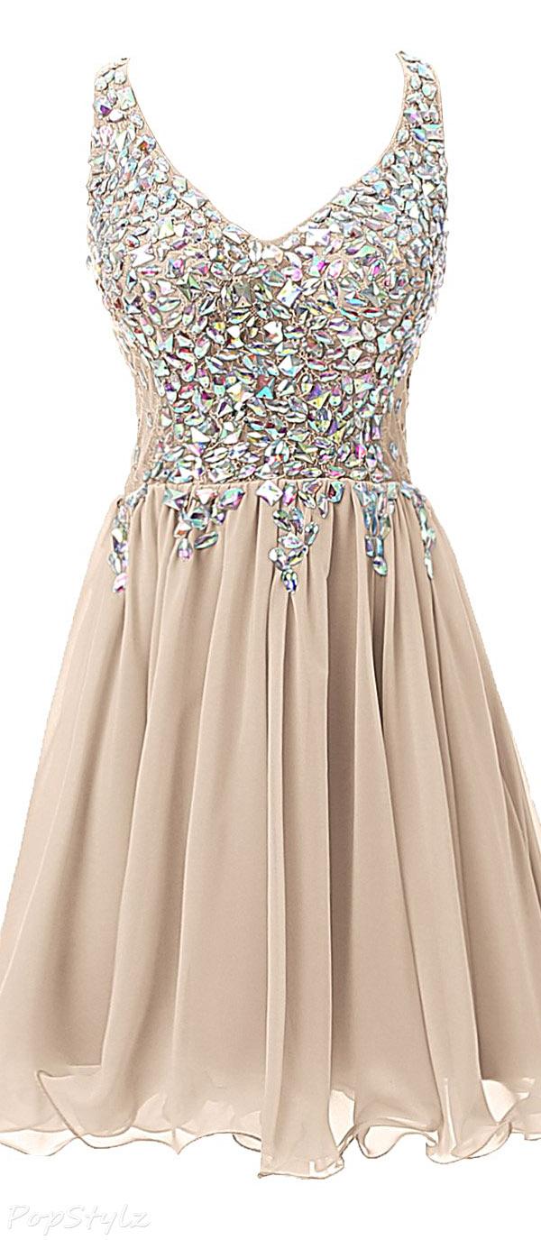 Ellames Short V-Neck Beaded Party Dress