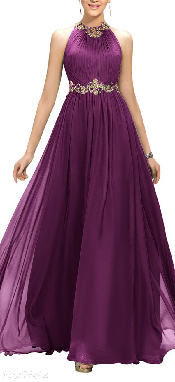 Ellames Jewel Beaded Long Evening Gown