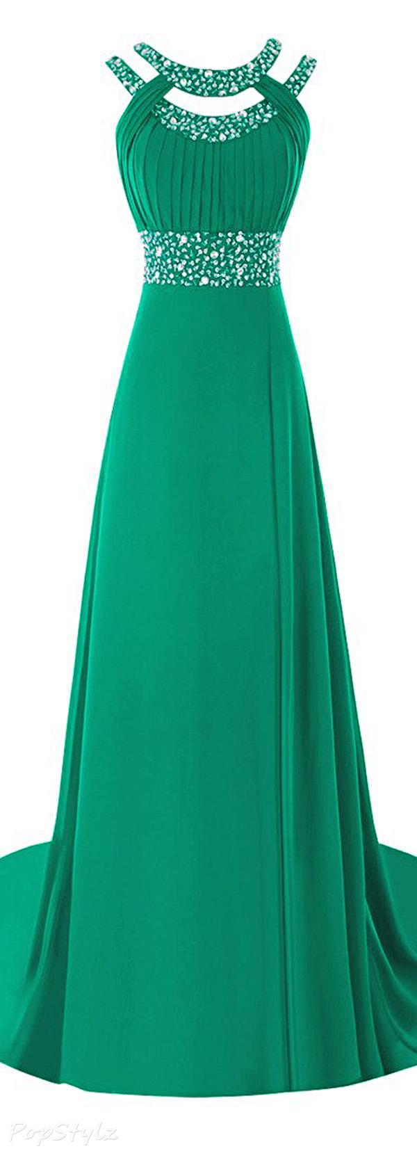Ellames Scoop Neck Crystals Evening Gown