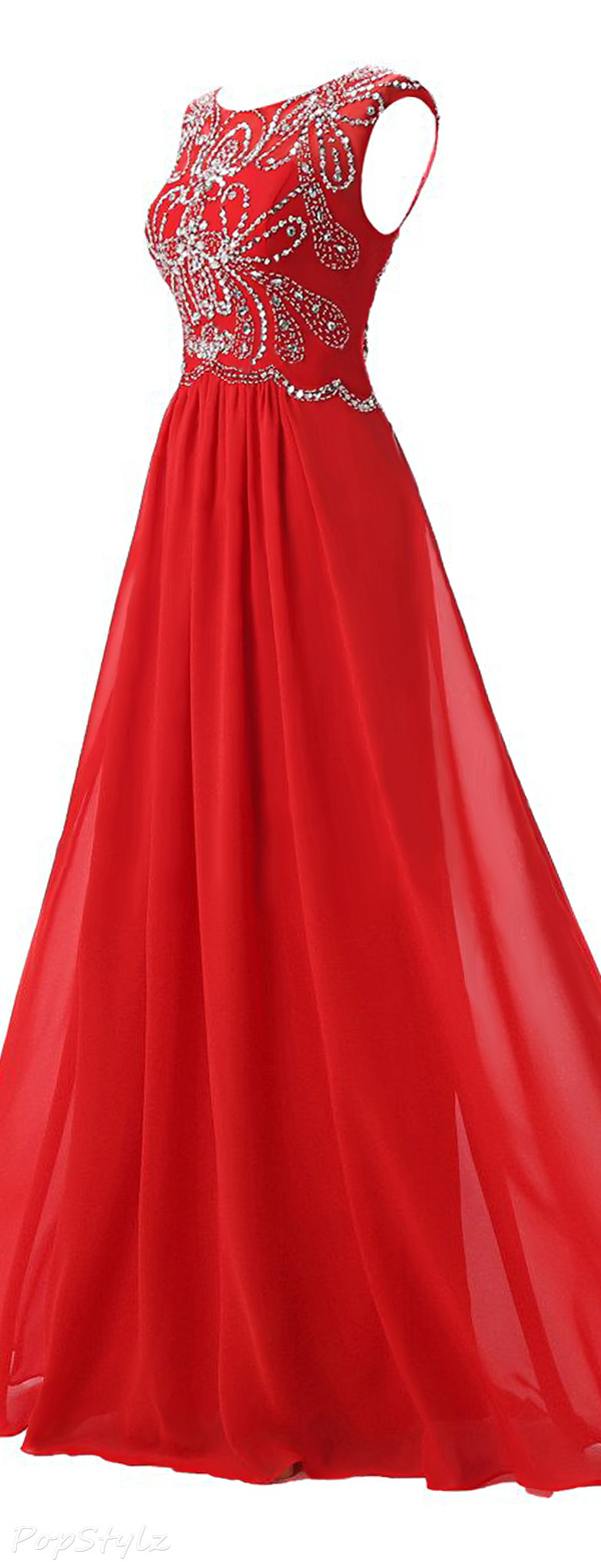 Ellames Cap Sleeves Long Formal Evening Gown