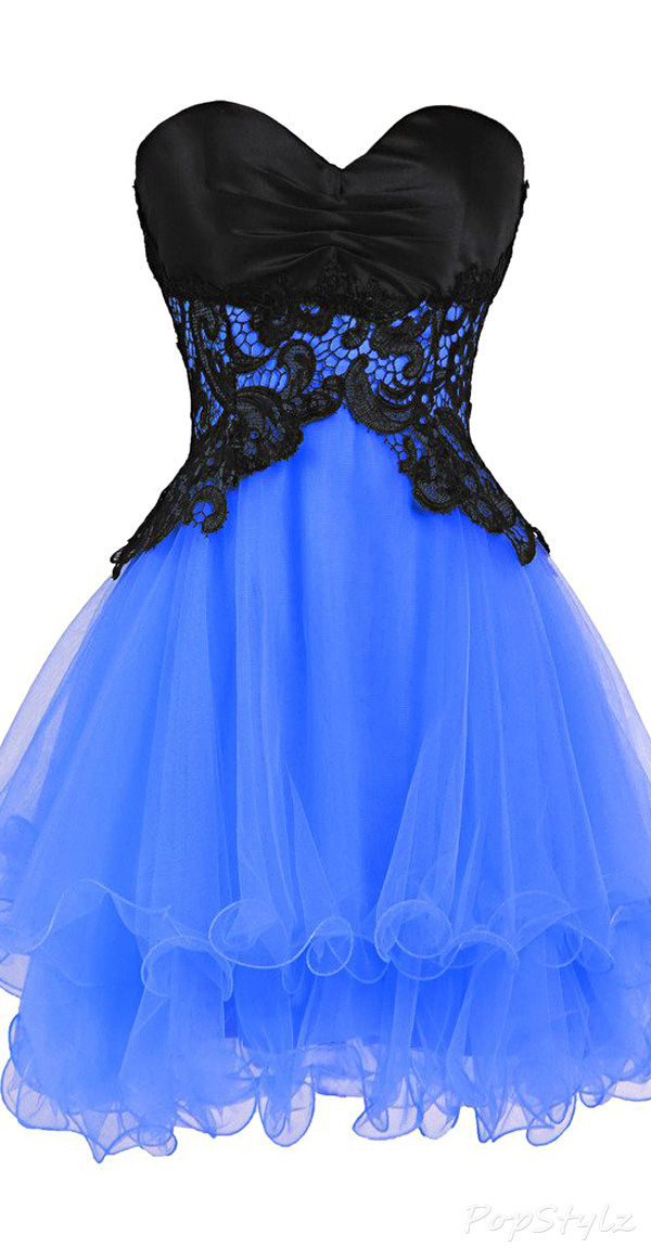 Ellames Satin & Tulle Short Formal Dress