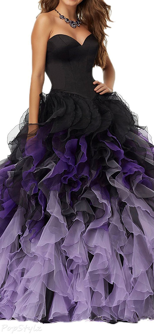 Fanciest 2017 Gradient Ruffles Formal Ball Gown