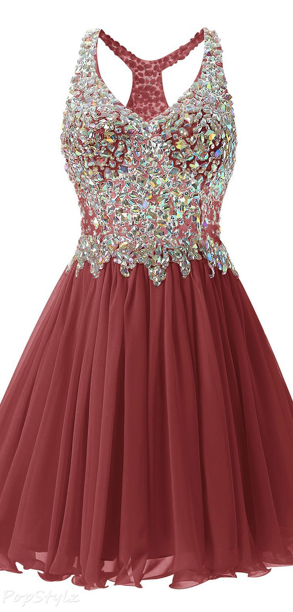 Fanciest Short Beaded Formal Dress