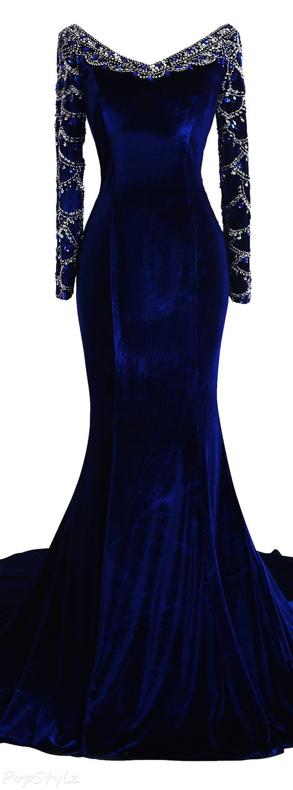 Fanciest Long Beaded Velvet Evening Gown