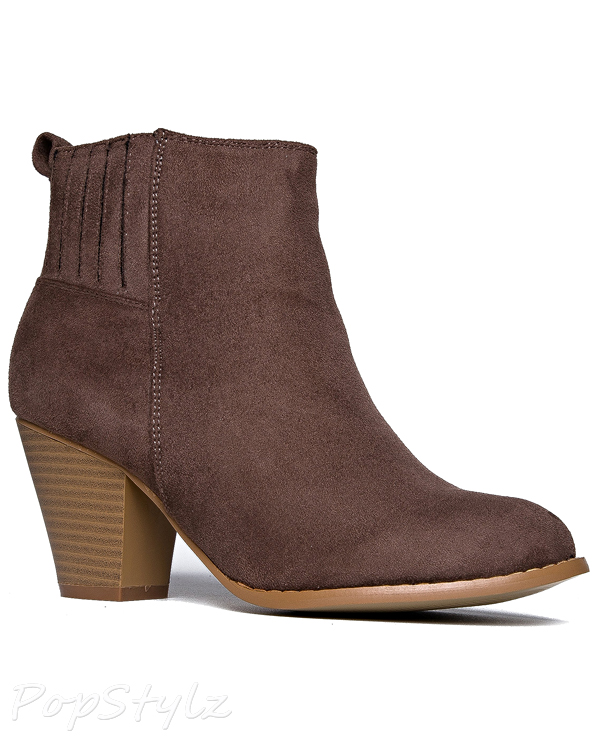 J. ADAMS Slip On Stacked Heel Walking Bootie