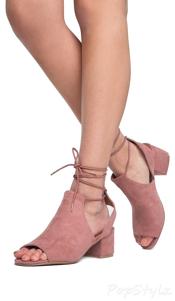 J. ADAMS Lace Up Ankle Strap Peep Toe Sandal