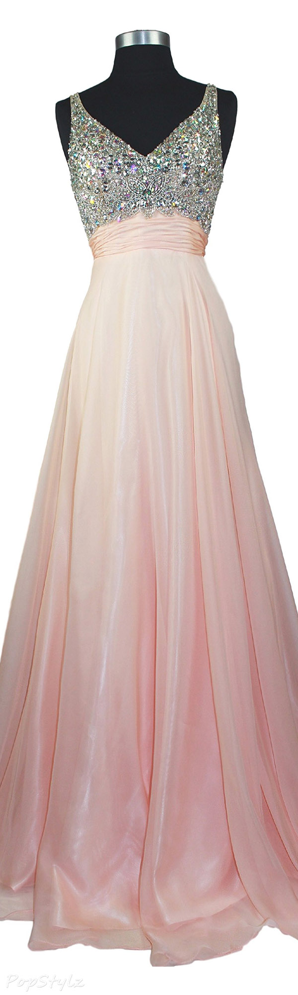 Meier Rhinestone A Line Formal Chiffon Evening Gown