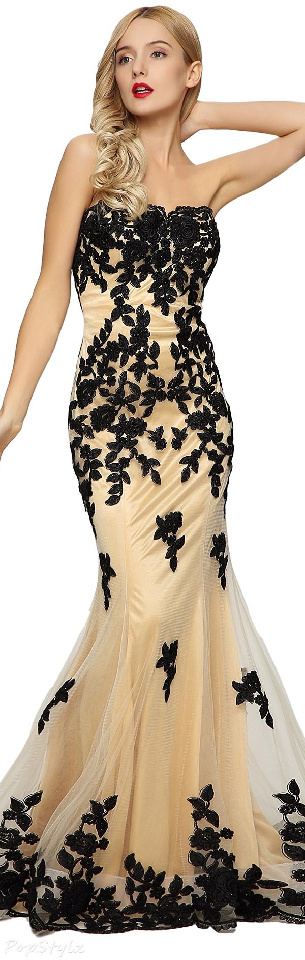 Meier Strapless Lace Beaded Formal Evening Gown