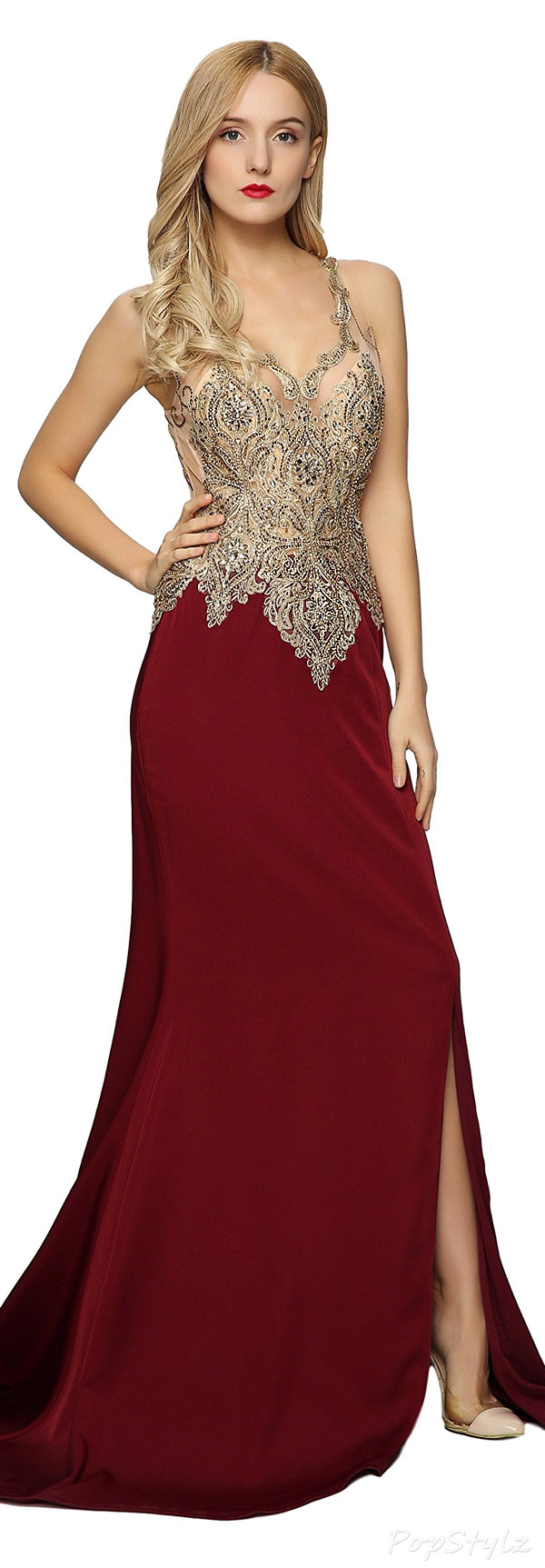 Meier Beaded Embroidered Sleeveless Evening Gown