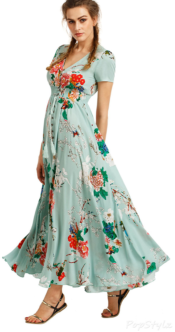Milumia Floral Print Button Up Flowing Maxi Dress
