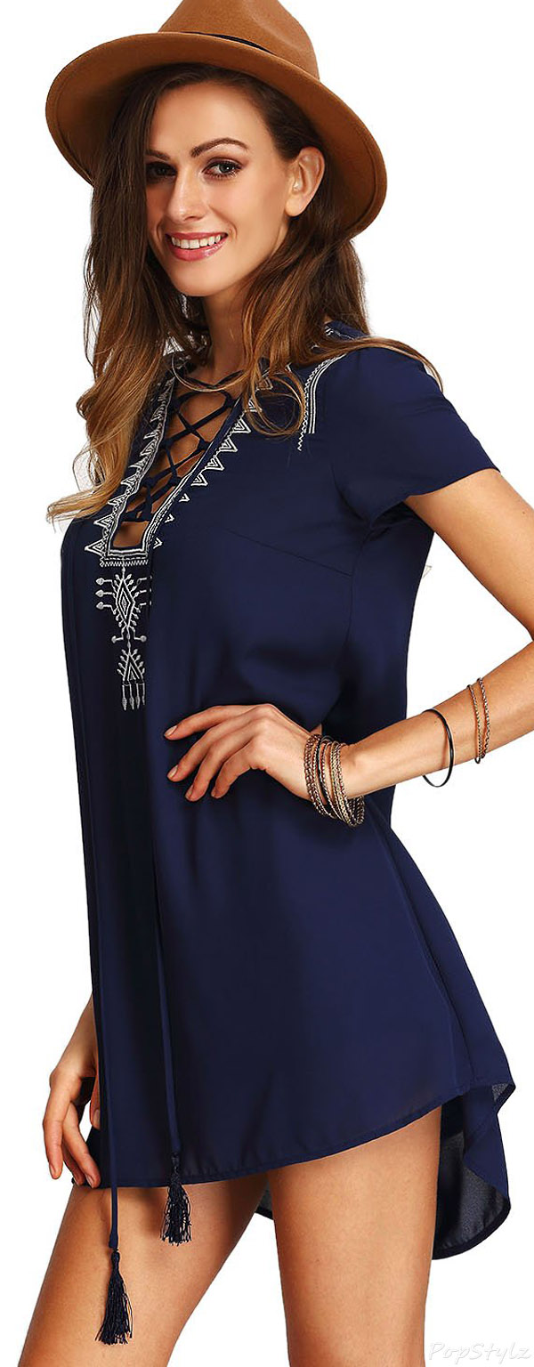 Milumia Boho Lace Up Embroidered Front Shift Dress